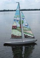 Litttle sailboat, painted sails!